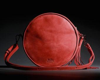CROSSBODY BAG, Crossbody purse, Round bag, Crossbody leather bag, Crossbody leather purse, Crossbody handbags, Small handbag, Red bag