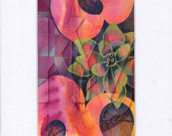 Matted Mixed Media Illustration of Flower