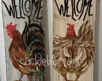 "5.5"" X 21""  Rooster Sign #213 or Hen Sign #214 Welcome Chicken signs"