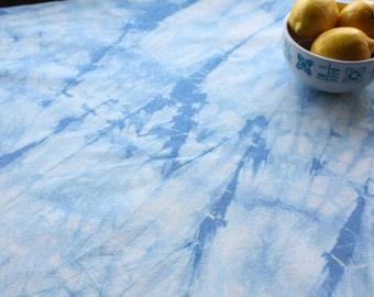 Blue shibori tablecloth - Artisan tie-dye tablecloth