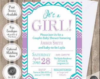 It's a girl baby shower invitation,purple, teal, chevron baby shower invitation, typography, chevron, printable invitation