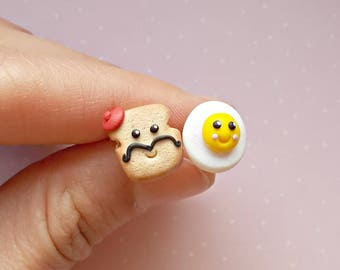 Food Earrings - Kawaii Earrings - Toast and Egg Earrings - Food Studs - Breakfast Earrings -  Miniature Food Earrings - Food Jewelry