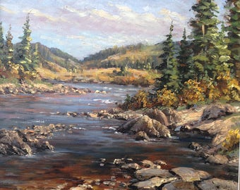 landscapes,river,mountains,oil painting,stones,wood,decor room