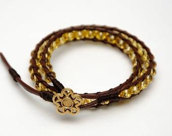Sister Gift for her Wrap bracelet Beaded Bracelet Crystal Beads Bracelet Boho Bracelet Leather Cord Bracelet Golden Crystal Bracelet for her