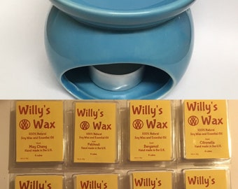 100% Natural Wax Melt with tea light burner - Willy's Wax Gift Set