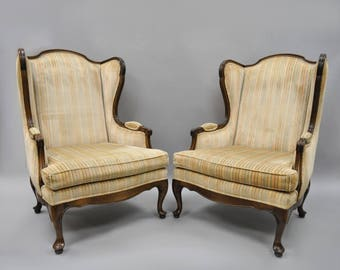 Vintage Ethan Allen Queen Anne Wing Back Chairs Cherry Wood Frames Armchairs a Pair