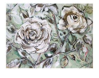 white rose,  flower painting, Abstract landscape /black and white, flower panting on canvas