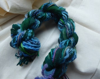 Hope Jacare - Wonderful Weaving hand dyed yarns and silk sari ribbons - 34g - WWY79
