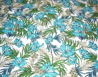 "Turquoise and yellow flowers on white -  cotton Fabric -  44"" wide - sold by the yard"