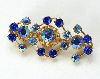 Vintage 1950s Austrian Blue Rhinestone & Aurora Borealis Brooch Pin Pinup Retro
