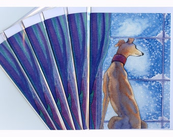 6 whippet greyhound snow dog pup greeting cards
