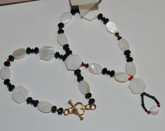 Mother of Pearl Oval & Octagon Shaped Beads with Black and Hyacinth Swarovski Crystal Ladies Handmade Necklace