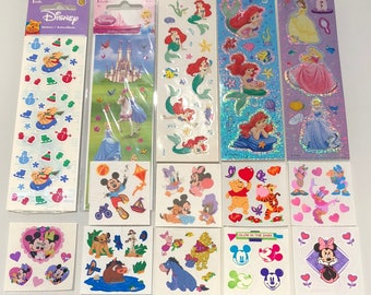 Vintage Sandylion Disney Princess Mickey Mouse Winnie the Pooh Sticker Lot