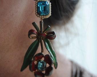 Happy Flowers--Vintage Enamel Shabby Chic Turquoise Prong Set Rhinestone Seed Pearl EARRINGS