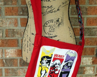 Upcycled Tshirt Wonder Woman, Supergirl, and Batgirl Red Crossbody Purse Tote Bag