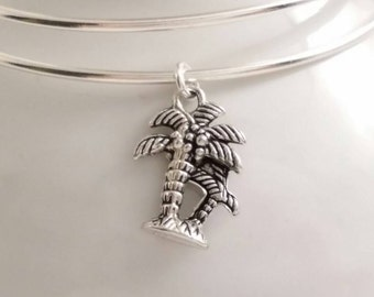 Tropical palm trees bangle bracelet