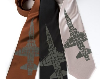 "Fighter jet necktie. ""Tie Fighter"" airplane silkscreen tie. F-5 jet print. Olive green screenprint."