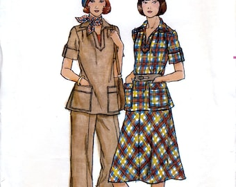 Butterick 4797 Vintage 70s Sewing Pattern for Misses' Top, Skirt and Pants - Uncut - Size 14