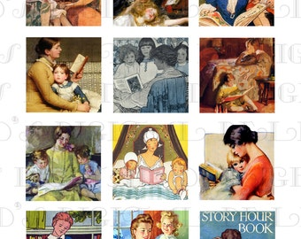 "MOTHER Reads To Child! Vintage Illustrations. Digital Collage Download. 2"" x 2"" Printable Digital COLLAGE Sheet.  Digital Collage Print."