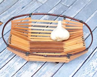 Vintage Bamboo Fruit Basket or Bowl