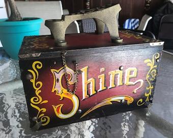 Antique carnie style shoe shine box vintage
