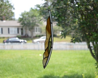 Brown Amber Green Art Glass Feather Suncatcher