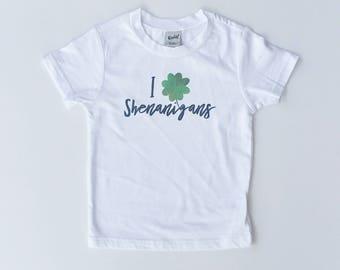 I Shamrock Shenanigans - Kids St Pats Shirt - St Paddys Shirt - Irish raglan - Girl Shamrock Shirt - toddler St Patrick