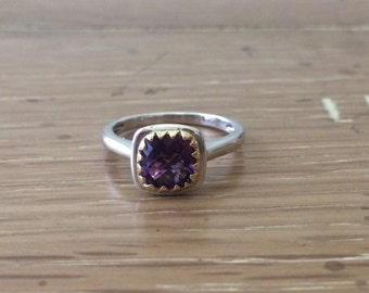 Amethyst Ring-Handmade Jewelry-Gold and Silver Stacking Rings-Purple Amethyst Ring-Stack Rings-bskdesigns-Sterling Silver Stacking Rings