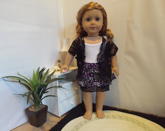 "Dark Flowers-3 Piece Outfit-Fits 18"" dolls LIKE American Girl"