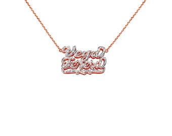 NP22cz-14k Gold Fabulous Cubic Zirconia Name Necklace