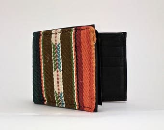 Brown green and orange sarape textile handcrafted billfold wallet