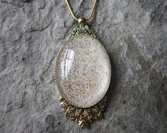 Choose Gold or Silver - Pink Bermuda Beach Sand Glass Cabochon Necklace - St. Catherine's Beach - Bermuda Sand