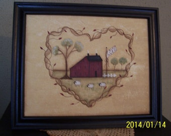 Primitive Grapvine Heart Saltbox House Framed Hand Painted Canvas Picture Home Decor