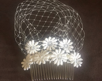 Ivory Netting and Vintage Flowers Haircomb