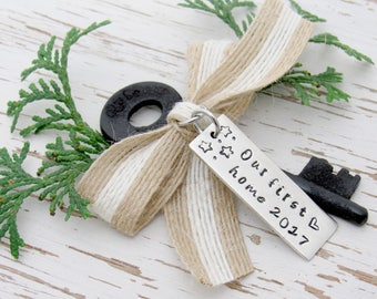 Our first home 2017  skeleton key ornament - housewarming gift - hand stamped - realtor - new house keepsake - stars heart - you pick color