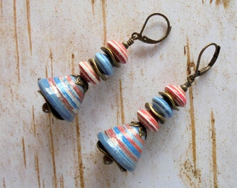 Blue, Red, White and Brass Paper Bead Earrings (4309)