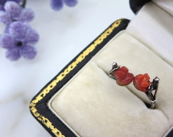 Red Rose Coral Stack Ring - Vintage Rose Wrap Ring Edwardian Carved Red Coral Stacking Band Ring - 800 Silver Adjustable Ring