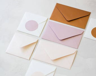 Metallic Envelopes - Mini / Small - 24 pc - Copper / Blush Pink / Coral