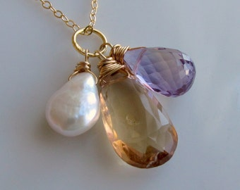 Gemstone Necklace, Yellow and Purple Ametrine, White keshi Pearl Necklace