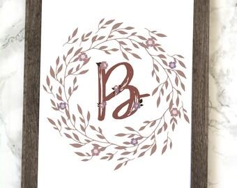 Monogram Letter B Printable, Floral Monogram Letter B, Printable, Letter B Wall Art, Letter B Printable, Monogram Printable, Initial Print