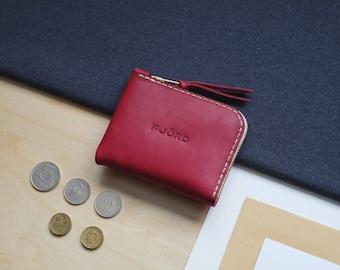Halfzipwallet fuchsia / Zipper wallet / Small leather wallet / Minimalist wallet