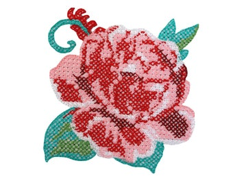 Rose in Embroidery Iron On Applique, Floral Iron On Patch, Rose Patch, Flower Applique, Flowers Patch, Kids Patch, Embroidered Patch