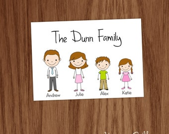 Personalized Family Note Card Set Folded Notecards - Personalized Stick People Personal Stationery Stationary for Mom Families