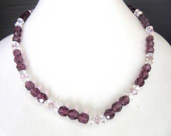 Crystal Bead Necklace or Choker Size Adjustable Faceted Purple & Aurora Borealis Clear Beads 14.5 - 18 Inches Small to Medium