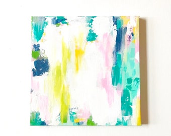 READY to SHiP, 12 x 12 Painting Original Painting, Acrylics on Canvas, Art Work, Girls Room Decor, Modern Art Abstract Painting,
