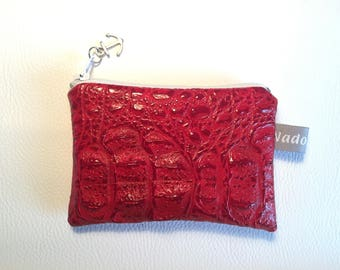 Red faux leather wallet