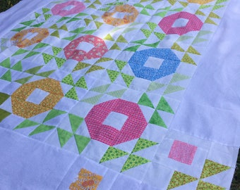 """Quilt pattern - spring blooms and blossoms - 53"""" x 65"""" - PDF file instant download -"""