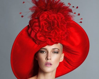 Red Kentucky derby hat, Couture Hat, Fashion Hat, Del mar hat.