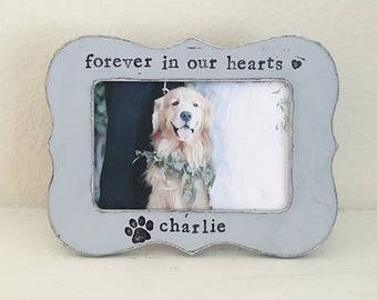 Dog picture frame, pet loss, pet memorial frame, personalized picture frame, dog frame, fur baby, gift for pet lover - Flowers in December