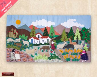 """Wall Art Quilt 10in Tall """"Paradise Andean""""- 3D Arpillera Folk Art from Peru -Quilted wall hanging - Tapestry decor - Embroidered of fabric"""